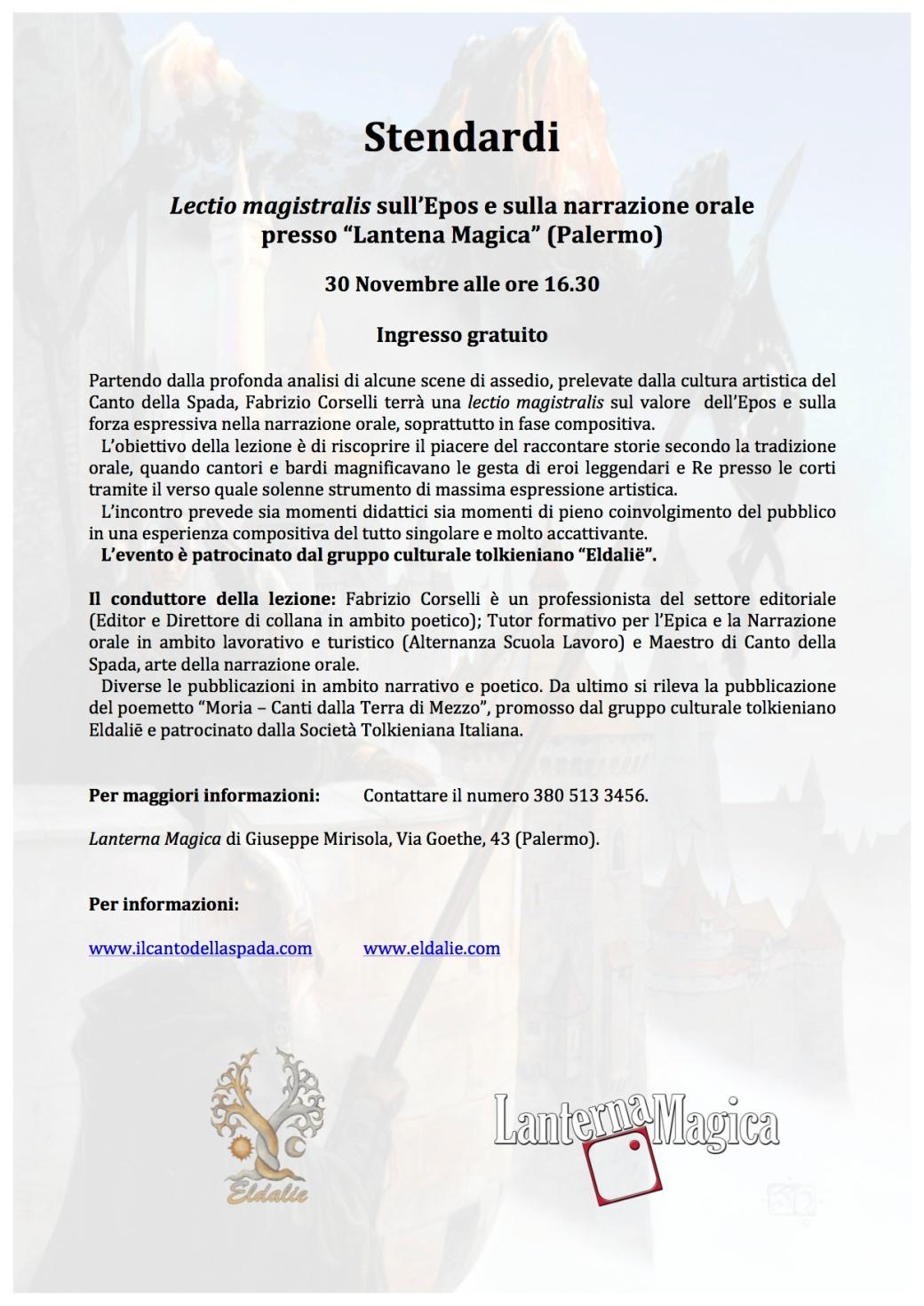 Stendardi - Evento 30 Novembre Locandina
